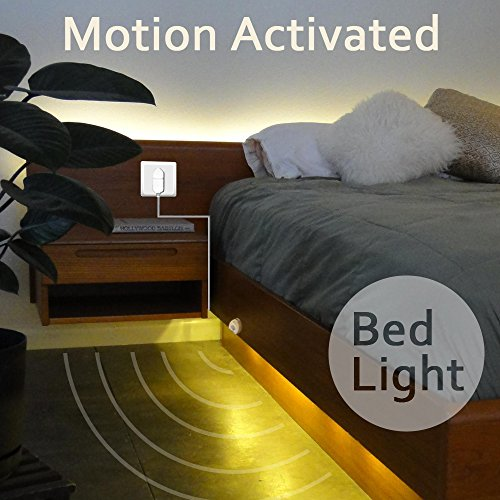 Excellux Dimmable Bed Light .Activated Night Light with Motion Sensor and Power Adapter.LED Strip Light for Bedroom, Crib Cot, Stairs, Cabinet, Kitchen, Bathroom(warm white) by Excellux