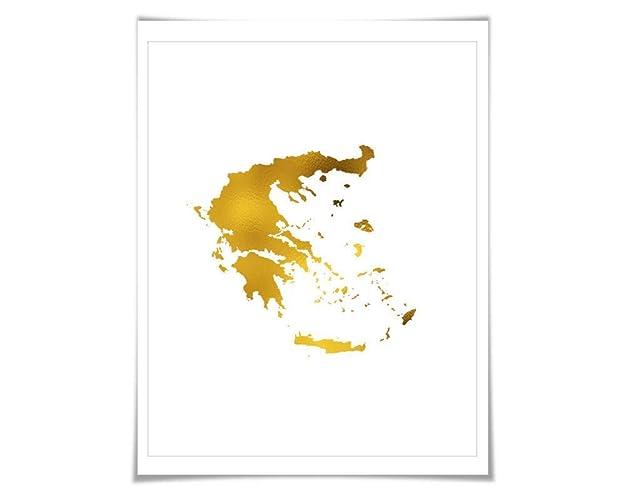 Country Of Greece Map.Amazon Com Greece Map Gold Foil Art Print 7 Foil Colours 3 Sizes