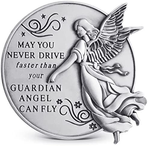 Guardian Angel Visor Clip For Car 2 1 4 Inch Diameter Metal Reads May You Never Drive Faster Than Your Guardian Angel Can Fly Best Parents Gift Idea For New Driver Loved