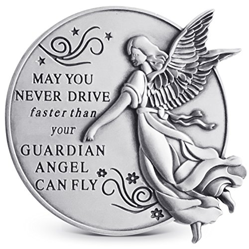 Guardian Angel Visor Clip For Car: 2-1/4 Inch Diameter Metal, Reads MAY YOU NEVER DRIVE FASTER THAN YOUR GUARDIAN ANGEL CAN FLY, Best Parents Gift Idea for New Driver & - Visor Clips