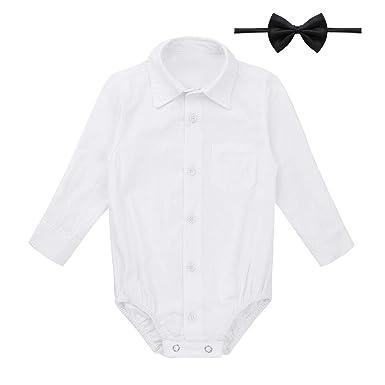 a9e02438171af Freebily Infant Baby Boy Long/Short Sleeve Formal Dress Shirt Toddler  Romper Bodysuit Wedding Baptism Outfits