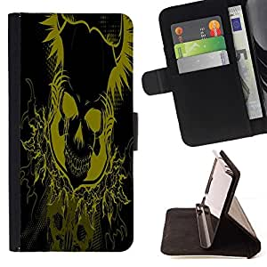 BETTY - FOR Samsung Galaxy S5 V SM-G900 - Yellow Floral Skull Skeleton - Style PU Leather Case Wallet Flip Stand Flap Closure Cover