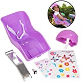 Purple Doll Bike Seat and Helmet for American Girl and 18 in Dolls - Both w Decorate Yourself Decals for DIY Kids Bike Accessories