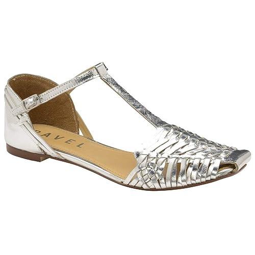 8b26dda5f Ravel Silver Calhoun Leather Flat Sandals  Amazon.co.uk  Shoes   Bags