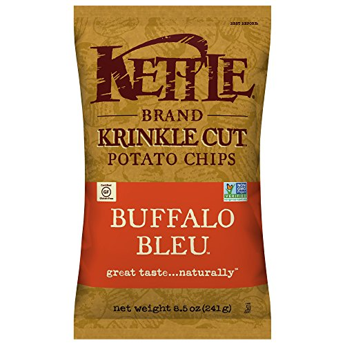 Kettle Brand Potato Chips, Krinkle Cut Buffalo Bleu, 8.5 Ounce, Pack of 12