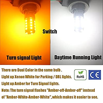 AMAZENAR 2-Pack 1157 BAY15D 1034 7528 2057 2357 White/Amber Switchback LED Bulb Extremely Bright- 2835 54-SMD, Xenon White for Daytime Running Light/Parking Light, Yellow for Turn Signal Blinkers: Automotive