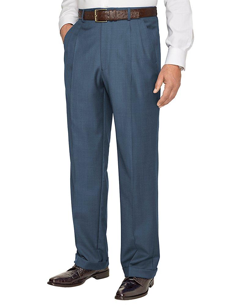 Paul Fredrick Men's Super 120s Sharkskin Pleated Suit Pants Slate Blue 38 by Paul Fredrick