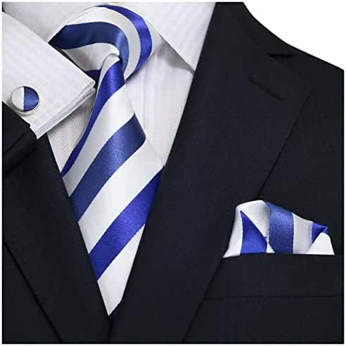 Landisun SILK Various Stripes Mens SILK Tie Set: Necktie+Hanky+Cufflinks