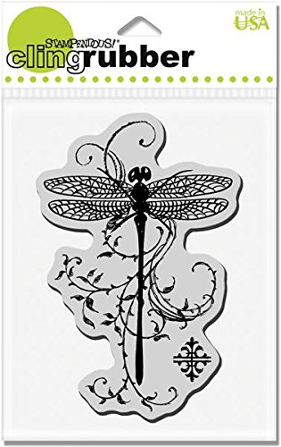 STAMPENDOUS CRP119 Cling Rubber Stamp, Dragonfly Vine