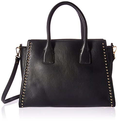 Amazon Brand - The Fix Audrey Medium Studded Leather Satchel with Top Zip, Black ()