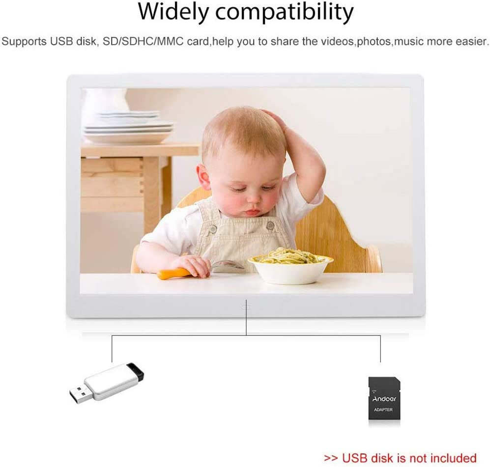 Electronic Photo Frames 15.4 inch LED 1280 x 800 High Resolution Double Screen display//MP3// MP4// E-Book//Clock//Calendar Funtion,Support USB Disk//SD//MMC//MS Card with Remote Control,White