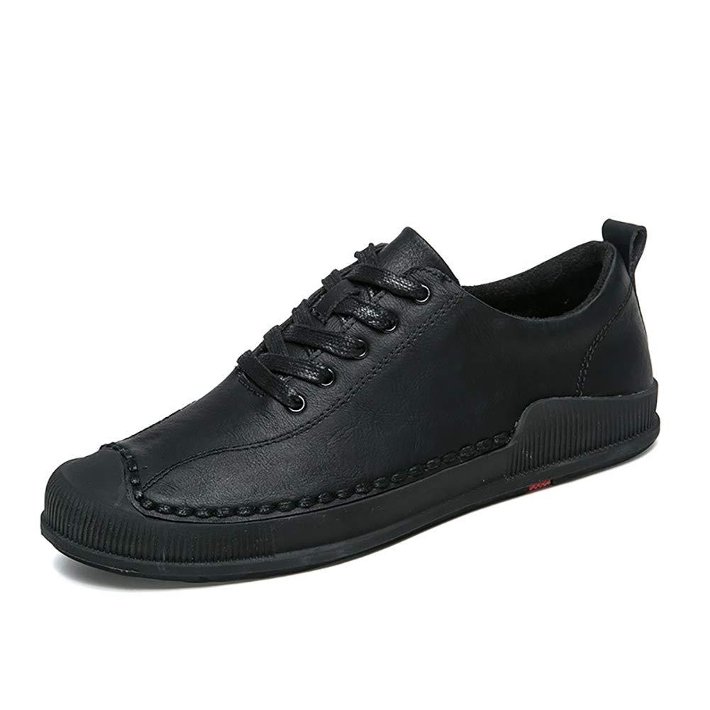 FHTD Herren Schnürschuh Loafers Leder Niedrig Top Schnürschuh Herren Freizeitschuhe Comfort Driving Schuhe Schwarz, Grau, Khaki schwarz 7f3a2d