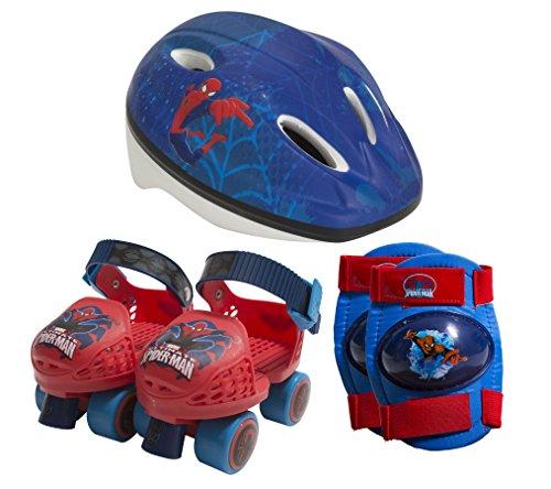 PlayWheels Spider-Man Roller Skates with Knee Pads and Helmet, Junior Size 6-12 (Spiderman Knee Pads)