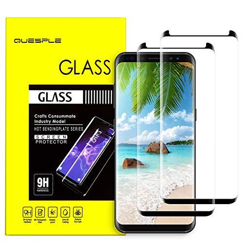 (Galaxy S8 Glass Screen Protector, [2 Pack] QUESPLE Premium 9H Hardness Anti-Scratch Full Coverage Tempered Glass Screen Protector Film for Samsung Galaxy S8)