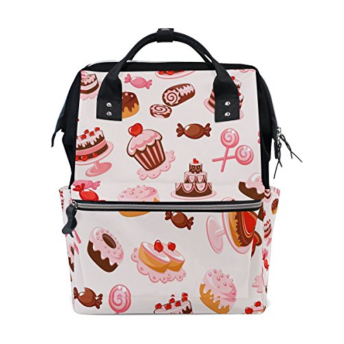 Diaper Bags Backpack Purse Mummy Backpack Fashion Mummy Maternity Nappy Bag Cool Cute Travel Backpack Laptop Backpack with Sweety Candy Pattern Daypack for Women Girls (Nappy Candy)