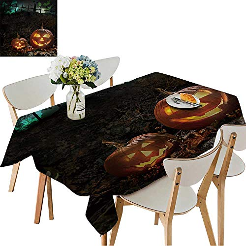 UHOO2018 Square/Rectangle Polyester Cloth Fabric Cover Halloween Pumpkins on Rocks in a Forest at Night Table Top Cover,52 x 70inch -