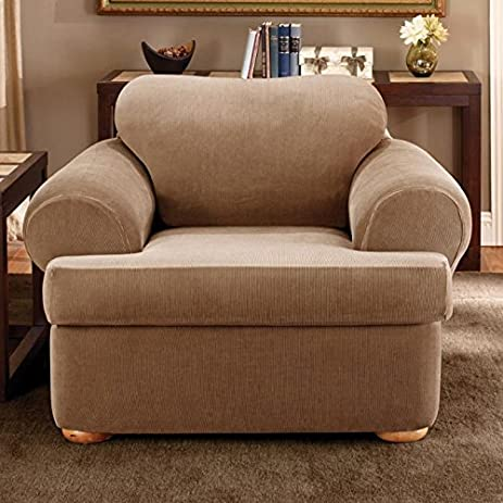Great Sure Fit Stretch Stripe 2 Piece   Chair Slipcover   Brown (SF37725)
