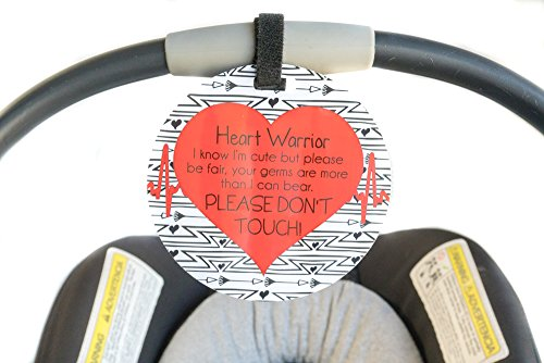 Heart Warrior No Touching Car Seat Sign