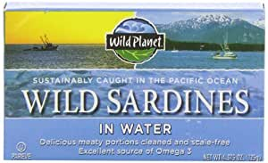 Wild Planet, Wild Sardines in Spring Water, 4.375 Ounce Tins (Pack of 6)