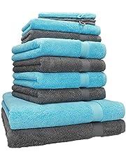 Betz 10-częściowy zestaw ręczników premium: 2 rękawice do mycia 16 x 21 cm, 2 ręczniki dla gości 30 x 50 cm, 4 ręczniki do rąk 50 x 100 cm, 2 ręczniki kąpielowe 70 x 140 cm, 100% bawełna, kolor: antracytowy szary i turkusowy