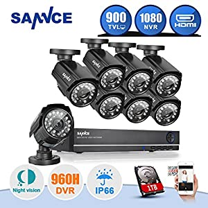 SANNCE 8-Channel 960H Video Security System DVR with 1TB Hard Drive and (8) Bullet Cameras with IR Night Vision LEDs and IP66 Weatherproof Metal Housing from ANNKE