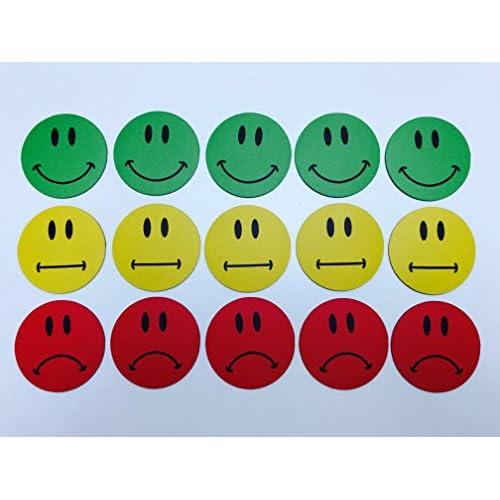 15aimants Motif smiley multicolores (5verte Smileys/5souriant jaune neutre Smileys/5rouges triste Smilies)/Diamètreâ€