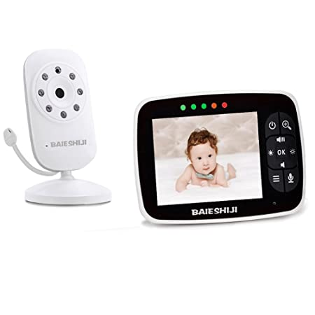 Baby Monitor, Video Baby Monitor 3.5 Large LCD Screen, Baby Monitors with Camera and Audio Night Vision,Support Multi Camera,ECO Mode,Two Way Talk Temperature Sensor,Built-in Lullabies 3.5 inch