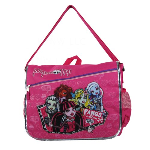Abbey Messenger - Officially Licensed Monster High Velcro Closure Messenger Bag - Clawdeen Wolf, Abbey Bominable, Lagoona Blue, Frankie Stein, and Draculaura