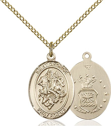 George Air Force Medal - Patron Saints by Bliss 14K Gold Filled Saint George Air Force Military Medal Pendant, 3/4 Inch