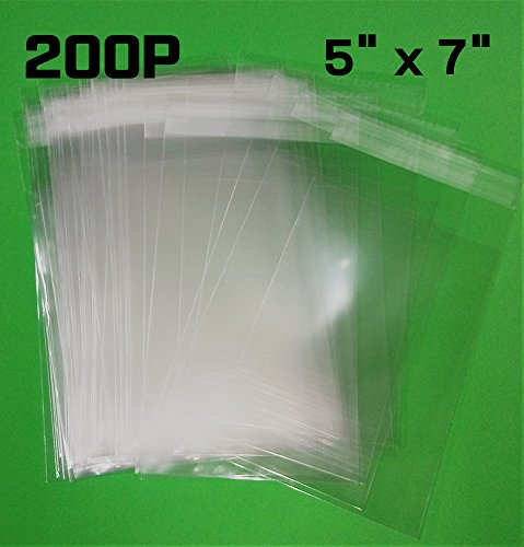 NSM Premium OPP Clear Bag [200P] Resealable Cellophane Wrap Sealing Plastic Bag (5'' x 7''(13cm x 18cm)) by NSM KOREA