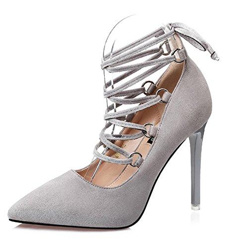 Suede Women's Stilettos Shoes Aisun Gray tie Court Dressy Faux Self High qHPWt4P1