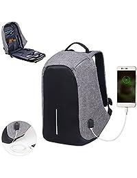 Mochila Antirrobo Contraagua para Laptop con acceso para Carga de Celular USB y Bolsillos Organizadores para Viaje o Negocios Unisex (Gris)