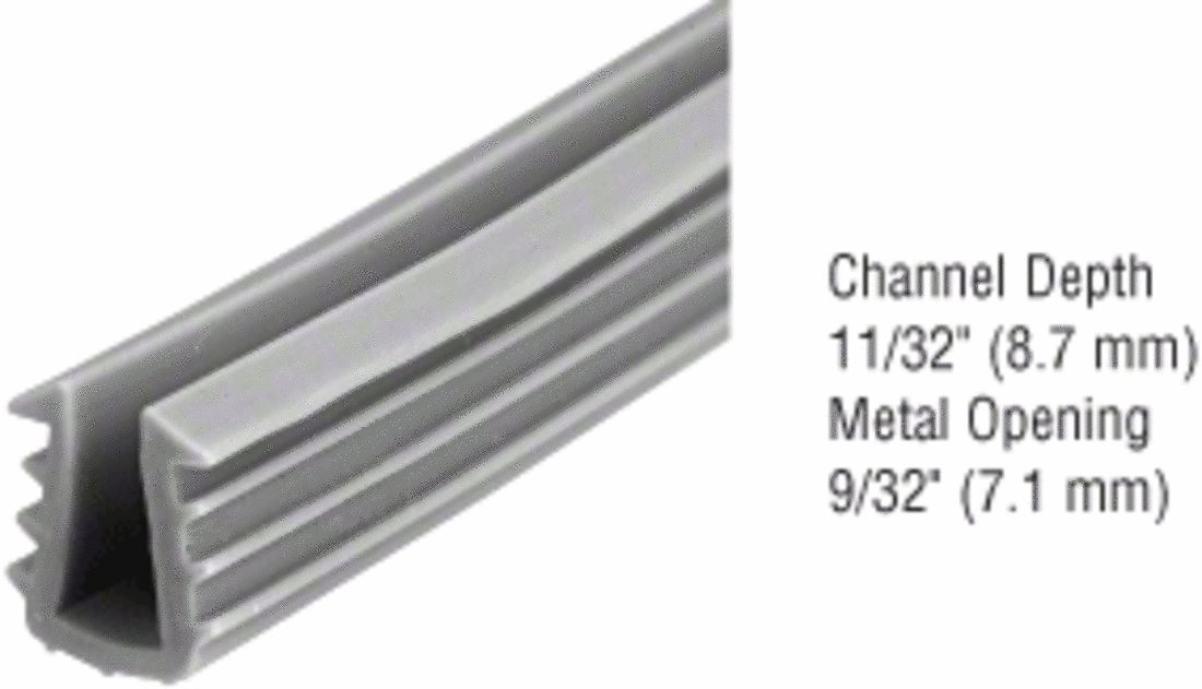 CRL Glazing Vinyl; 11//32 Channel Depth 9//32 Metal Opening for 3//16 Glass 1000 ft Roll