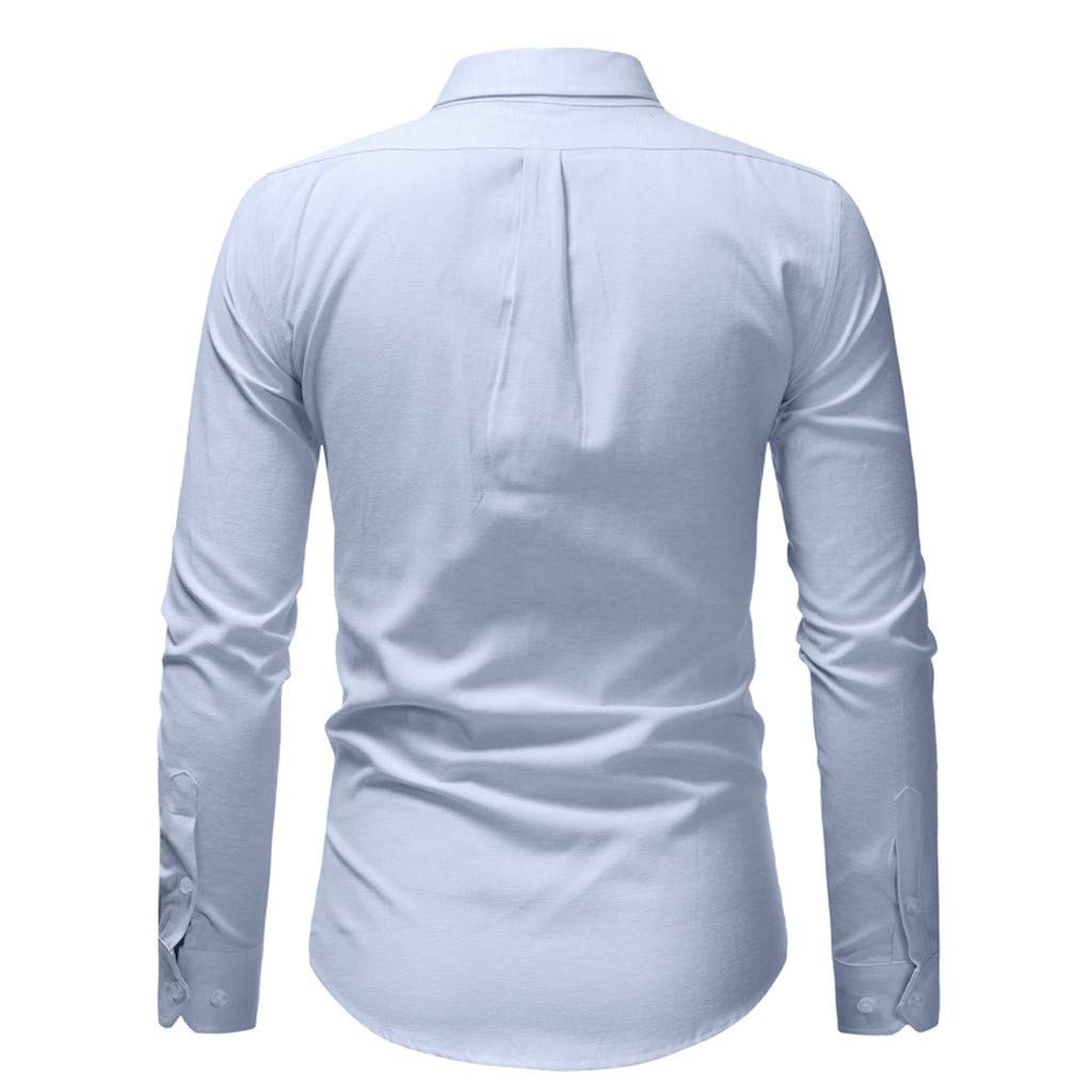 XZDCDJ Men Spring Winter Casual Solid Color Long Sleeve Slim T-Shirt Top Blouse