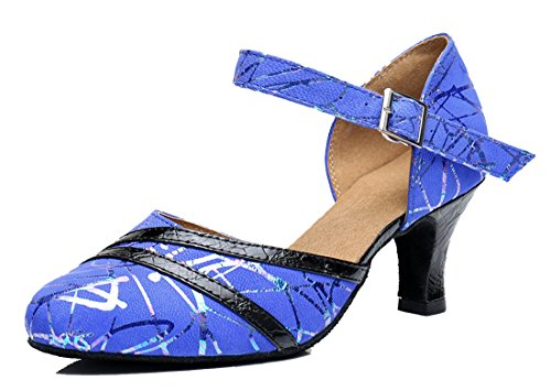 Latin Salsa Heel Shoes Leather Tango Blue Round Womens Toe Samba Modern Buckle 6cm TDA Dance Wedding zXq6W
