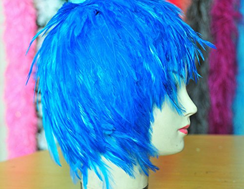 Blue Hackle Feather Costume Wig Halloween Costume Coque Feather Wigs (Atlanta, (Halloween Costume Parties Atlanta)