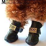 Colorfulpets DOG Australia Winter Warm Dog Boots 4 Pcs (Black, 4)