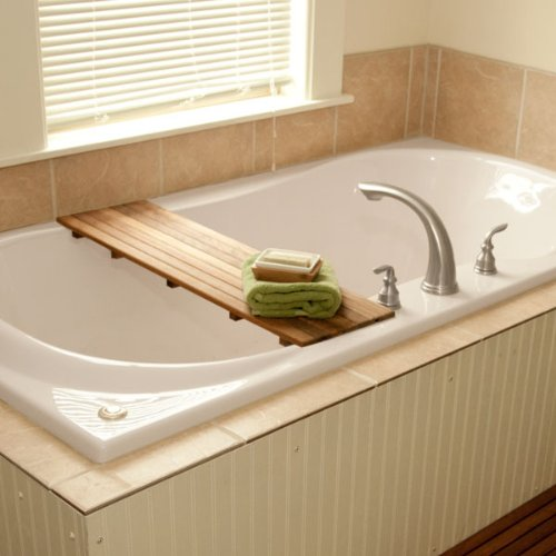Teak Adjustable Bathtub Shelf Seat For tubs from 20-1 4 to 28-1 2 wide Plantation Teak