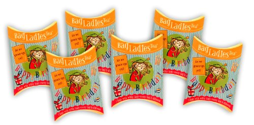 Bag Ladies Tea Presents Happy Birthday Tea Pouch - Each Pouch Contains 5 Teabags Individually Tagged with 5 Different Witty and Thoughtful Quotes, Made with Fine English Breakfast Tea.
