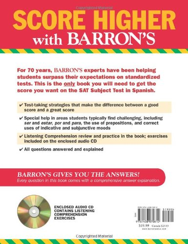 Barron's SAT Subject Test: Spanish with Audio CDs, 3rd Edition by Brand: Barron's Educational Series