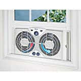 "Holmes Dual 8"" Blade Twin Window Fan with Manual"