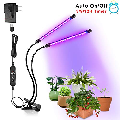 Brionac 20W Plant Grow Light, 40 LED, 9 Dimmable Levels Timing Grow Light with Red Blue Spectrum, Dual Head Grow Lights for Indoor Plants