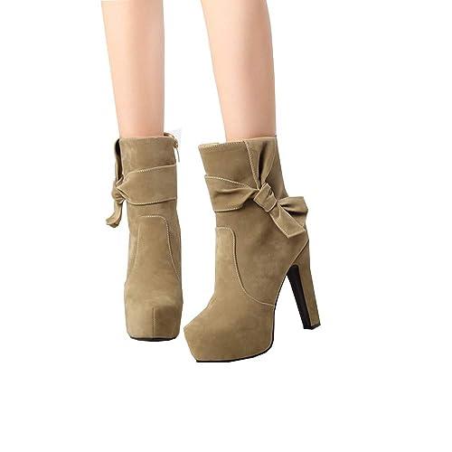 BHYDRY Schuhe Runder Kopf Wasserdichte High Heel Stiefelette Mode Elegant Bogen Seitlicher ReißVerschluss Damen Kurze Stiefel Plateau Stiefeletten