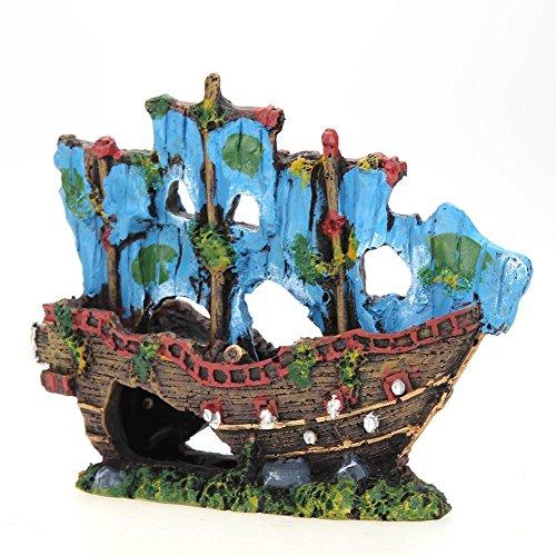 Destroyer de barco de pesca de Broadraude paisaje de peces decoración de acuario pecera pirata: Amazon.es: Productos para mascotas