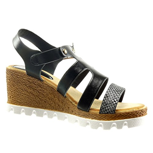 Angkorly Platform Mules 5 Studded cm Sole Wedge Shoes Platform Women's Fashion 7 Sneaker Sandals Black Snakeskin UPxqUrFw