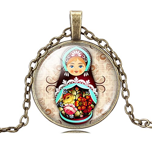 Costume Vintage Doll (Vintage Exotic National Costume Cutie Matryoshka Doll Time Gemstone Pendant Necklace Birthday)