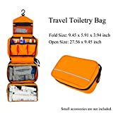 Travel Hanging Toiletry Bag for Men Women Travel Toiletry Kit Accessories Bag Travel Organizer Case Cosmetic Bag Waterproof Makeup Pouch with Hanging Hook for Home Hotel Travel (Orange)