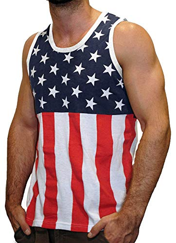 Licensed Mart Men's American Flag Stripes and Stars Tank Top Shirt TAF05 ()