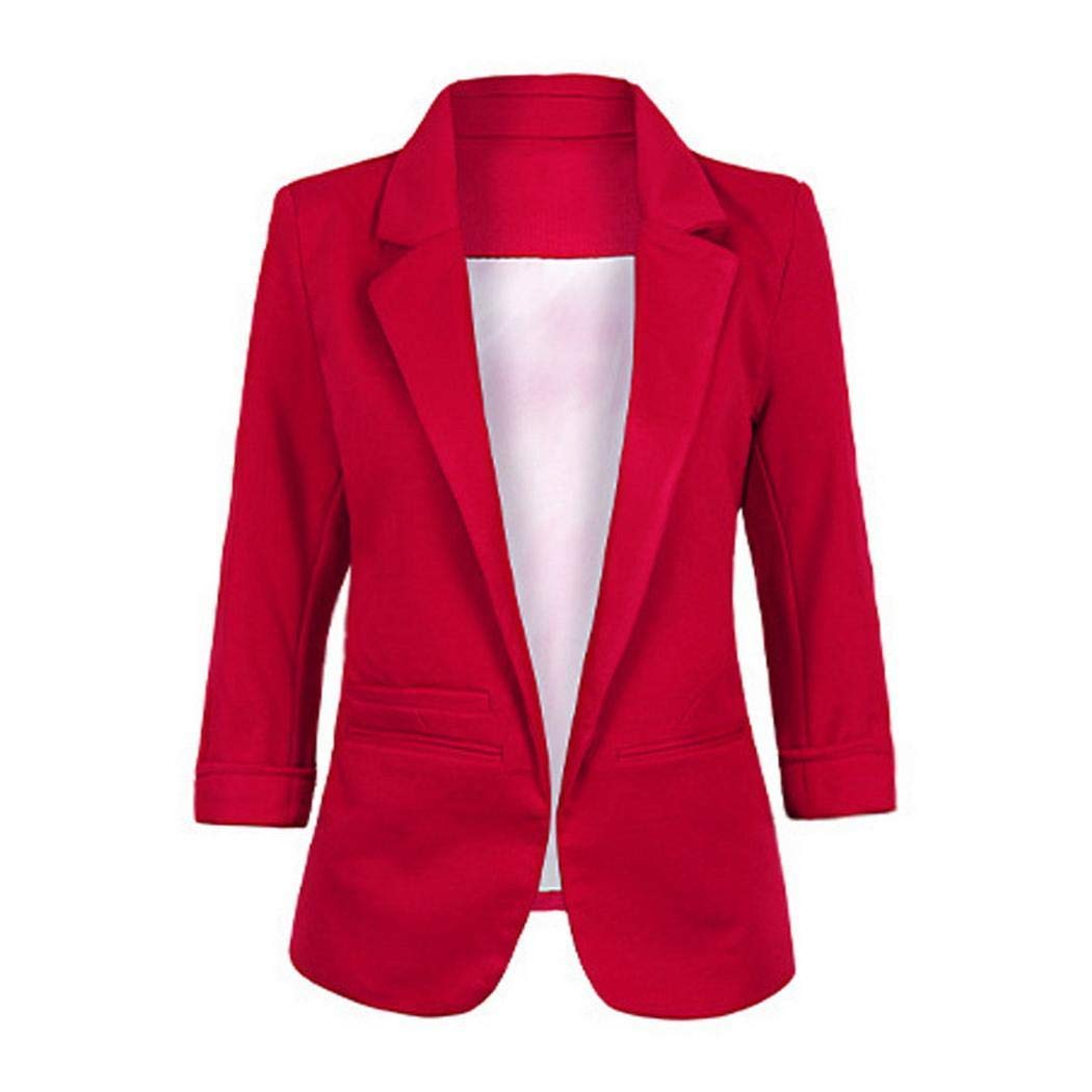 Aimage Women Solid Turn-Down Collar 3//4 Sleeve Open Front Blazer Office Jacket