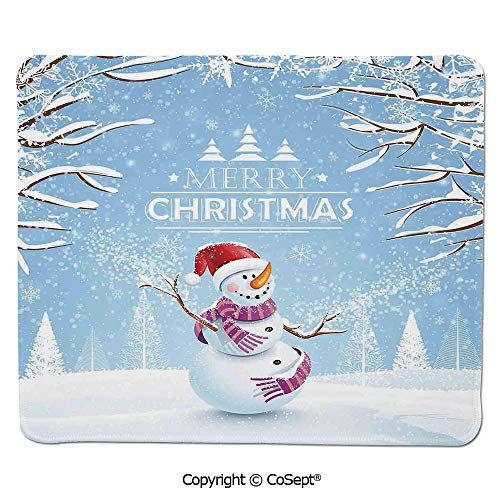 Non-Slip Rubber Base Mousepad,Cute Snowman in a Snowy Winter Day with Xmas Hat Frosty Noel Kids Nursery Theme,Dual Use Mouse pad for Office/Home (7.87